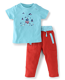 Snuggles Half Sleeves Top With Pant - Blue Red