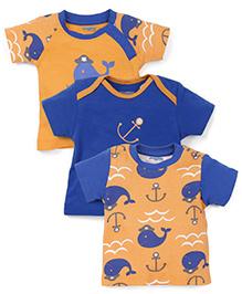 Snuggles Half Sleeves T-Shirts Pack of 2 - Orange Blue