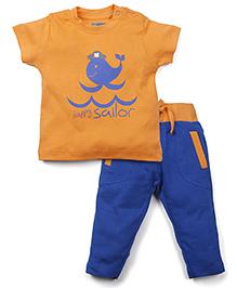 Snuggles Half Sleeves T-Shirt And Legging Set - Blue Orange