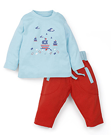 Snuggles Full Sleeves T-Shirt And Bottoms - Blue Red