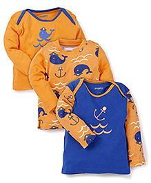 Snuggles Full Sleeves T-Shirts Multi Print Pack of 3 - Orange Blue