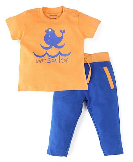 Snuggles Full Sleeves T-Shirt And Pants - Orange Blue