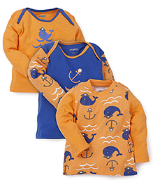 Snuggles Full Sleeves T-Shirts Pack of 3 - Orange Blue