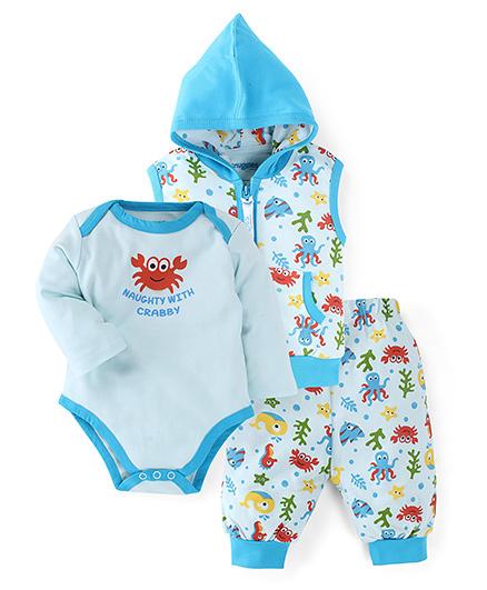 Snuggles Full Sleeves Onesie Jacket And Legging Set - Sky Blue