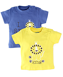 Snuggles Half Sleeves T-Shirts Pack of 2 - Yellow Blue