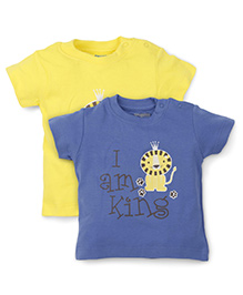 Snuggles Half Sleeves T-Shirt Pack Of 2 - Blue Yellow