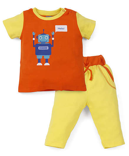 Snuggles Half Sleeves T-Shirt And Bottoms Robot Print - Yellow Orange