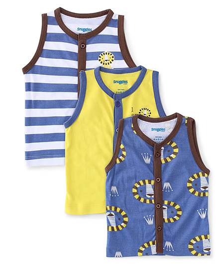 Snuggles Sleeveless Front Open Jhabla Vest Pack Of 3 - Multicolor
