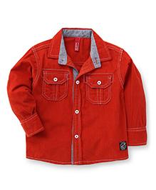 Spark Full Sleeves Plain Shirt - Rusty Red