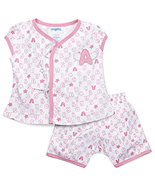 Snuggles Short Sleeves Top And Shorts Alphabet Print - White Pink