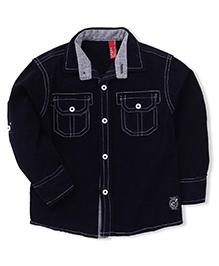 Spark Full Sleeves Plain Shirt - Navy Blue