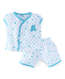Snuggles Short Sleeves Top And Shorts Alphabet Print - White Blue