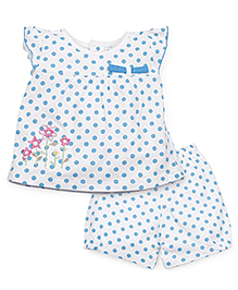 Snuggles Cap Sleeves Dotted Top And Shorts Floral Embroidery - White Blue