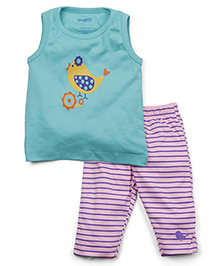 Snuggles Sleeveless Top With Leggings - Green Lilac