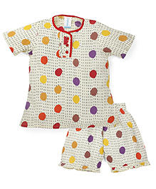Snuggles Half Sleeve Shirt With Shorts - Yellow And Multi Color