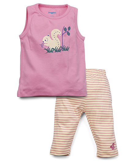Snuggles Sleeveless Top And Leggings Squirrel Print - Pink Yellow