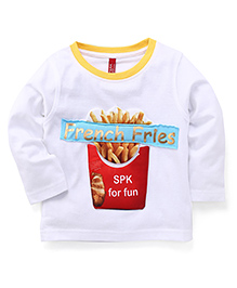 Spark Full Sleeves T-Shirt French Fries Print - White