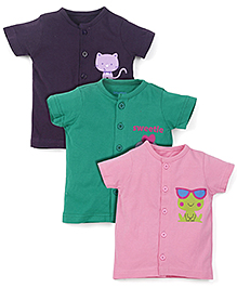 Snuggles Half Sleeves Jhabla Vests Pack of 3 - Green Pink Violet