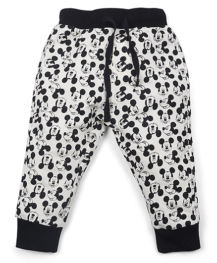 Disney Full Length Track Pants Mickey Print - Black Cream