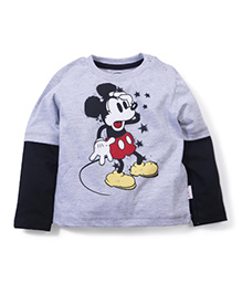 Disney Full Doctor Sleeves T-Shirt With Mickey Print - Grey