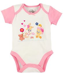 Warner Bros Half Sleeves Bodysuit - White And Pink