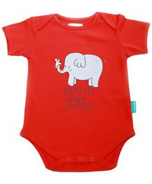 Zeezeezoo Half Sleeves Bodysuit Elephant Print - Red