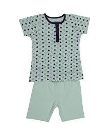 Babyoye Half Sleeves Night Wear Set - Light Blue