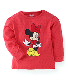 Disney Full Sleeves Top Minnie Mouse Print - Red