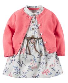 Carters Floral Printed Dress & Cardigan Set - Grey & Pink