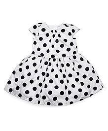 Carters Cap Sleeves Froct Polka Dot Print - White