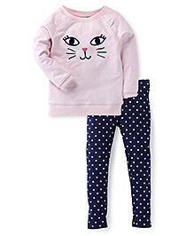 Carte's Full Sleeves Cat Print Top With Pant - Pink Blue
