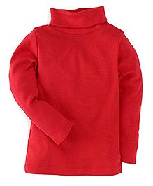 Carter's Full Sleeves Turtle Neck Plain T-Shirt - Red