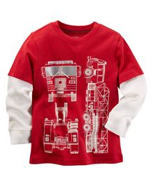 Carter's Long-Sleeve Layered-Look Firetruck Graphic Tee