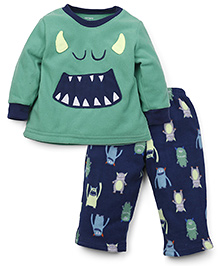 Carter's Full Sleeves T-Shirt And Pajama Monster Print - Green Blue