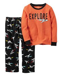 Carter's Full Sleeves T-Shirt And Pajama Explore Print - Orange Black