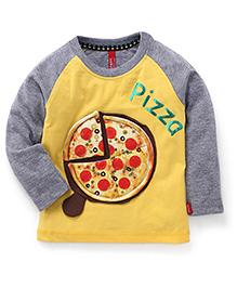 Spark Full Sleeves T-Shirt Pizza Print - Yellow and Grey
