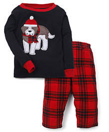 Carter's Full Sleeves T-Shirt And Check Pajama Puppy Patch - Black Red