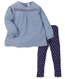 Carter's Full Sleeves Top With Leggings Set - Blue