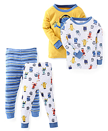 Carter's Full Sleeves T-Shirts And Pajamas Pack of 2 - White Yellow Blue