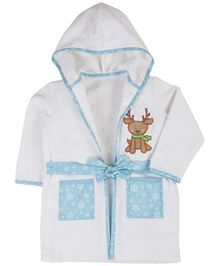 Babyoye Full Sleeves Hooded Bath Robe Deer Embroidery - White Blue