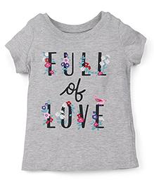Carter's Half Sleeves Top Full Of Love Print - Grey