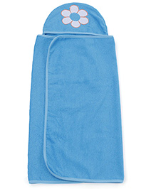 M&M Hooded Towel Flower Embroidery - Blue