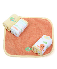 Owen Hooded Towel With Wash Cloth - Yellow