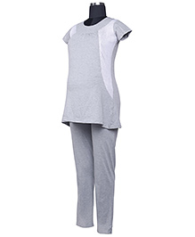 Kriti Short Sleeves Maternity Top And Pajama - Grey