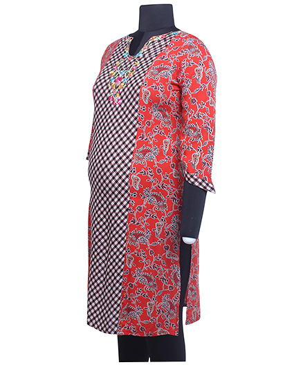 Kriti Three Fourth Sleeves Maternity Kurti - Red