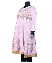 Kriti Ethnic Maternity Three Fourth Sleeves Kurta With Jacket - Pink Gold