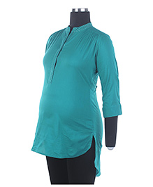 Kriti Three Fourth Sleeves Asymmetrical Maternity Top - Green