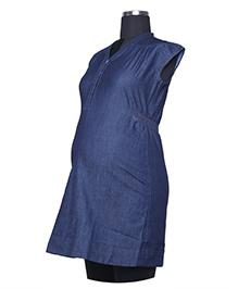 Kriti Short Sleeves Maternity Top - Navy