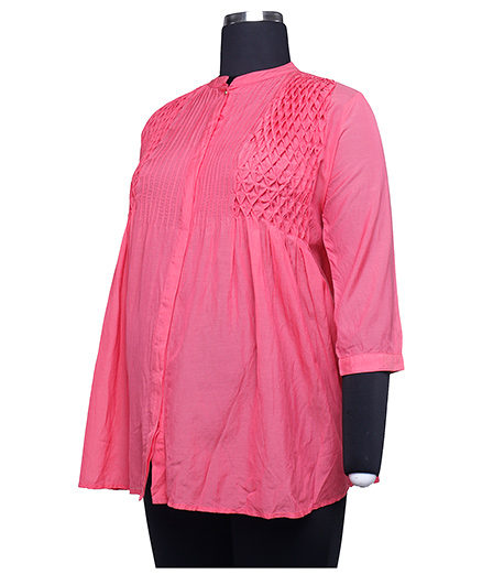 Kriti  Three Fourth Sleeves Blouse With Lace Work - Coral