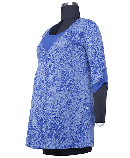 Kriti Three Fourth Sleeves Printed Maternity Tunic - Blue